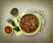 picture of vedic  - Vegetarian soup with beans mung bean and tomato - JPG