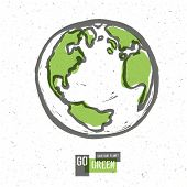 Go Green Concept Poster With Earth. Vector