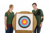 foto of longbow  - Young girl and boy standing besides the bull - JPG