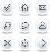 Basic web icons, white glossy circle buttons