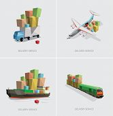 low poly transportation set vector illustration