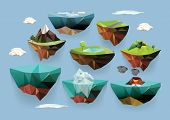 stock photo of magma  - Vector low poly islands set for your design - JPG