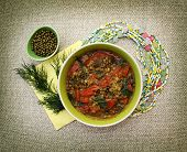 stock photo of vedic  - Vegetarian bean soup mung - JPG