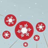 Christmas background with snowflakes lollipops.