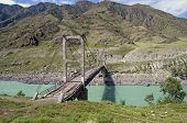 Abandoned Bridge Over The River Katun, Altai.