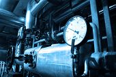 picture of pipeline  - grunge oil and gas pipelines in a blue toning Industrial zone - JPG