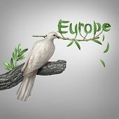 picture of olive shaped  - Europe conflict and diplomatic crisis concept as a white dove holding an olive branch with the leaves shaped as text as a hope and risk symbol for peace and finding a peaceful negotiated solution for eastern and western european security - JPG