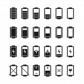 Battery web icons,symbol,sign in flat style.