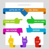 Hands symbols pointers design elements vector templates. Handshake, Like, Good, Touch, Stop signs etc. Editable.