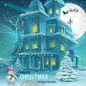 Christmas And New Year Greeting Card With The Image Of A Snowy Night With A Snowman And Christmas Tr