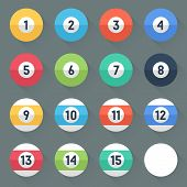 Colored Pool Balls. Numbers 1 To 15 And Zero Ball. Flat Style With Long Shadows. Modern Trendy Desig