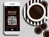 Mobile Phone With Discount Coupon, Cup Of Coffee And Gingerbread Lying On Tablecloth