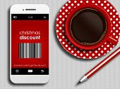 Mobile Phone With Discount Coupon, Cup Of Coffee And Pencil Lying On Tablecloth