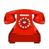 Vintage Red Phone With Buttons Dial Ring Isolated On A White Background. Monochromatic Line Art. Ret