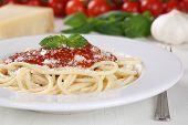Cooking Spaghetti Noodles Pasta: Prepared Meal With Tomato Sauce On Plate