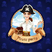 Cute Young Pirate With Treasures . Banner For Pirate Party