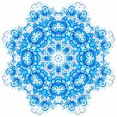 Blue vector snowflake in gzhel style