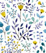 Watercolor vector seamless pattern with floral elements