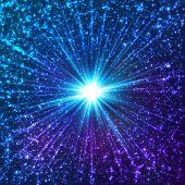 Blue shining cosmic vector stars