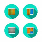 Flat vector icons for windows with louvers
