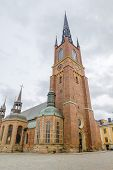 Riddarholmen Church tower at Stockholm, Sweden. Its the burial church of the Swedish monarchs since 1632.