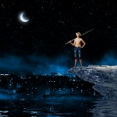 image of boys night out  - Young boy at night with fishing rod - JPG