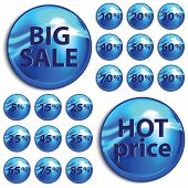 Discount Blue Stickers On White Background.