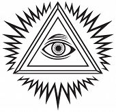 stock photo of freemason  - All seeing eye isolated on white background - JPG