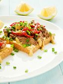 picture of liver fry  - Toasts with mustard sauce liver and stir - JPG