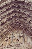 stock photo of notre dame  - Architectural details of Cathedral Notre Dame de Paris - JPG