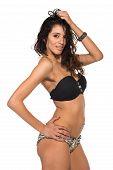 foto of slender  - Tall slender brunette in a black bandeau top and leopard print panties - JPG