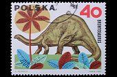 Poland - Circa 1969: A Stamp Brontosaurus