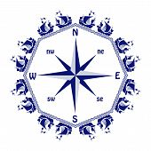 foto of wind-rose  - wind rose with frame of blue ships on white background - JPG