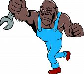pic of ape  - Illustration of an angry gorilla ape mechanic with spanner punching facing front set inside shield crest on isolated background done in cartoon style - JPG