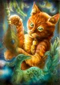 foto of puss  - Beautiful fantasy colorful painting of a radiant orange cartoon cat playing with a peacock feather and emerald phoenix bird eye contact - JPG