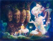 pic of face painting  - Spiritual sacred tree of four faces beautiful colorful painting of a radiant elven creatures animals and energy lights - JPG