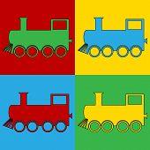 stock photo of locomotive  - Pop art locomotive symbol icons - JPG