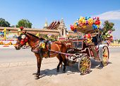 picture of carriage horse  - Horse carriage in temple Phrathat Lampang Luang in Lampang Thailand - JPG