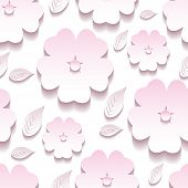 stock photo of sakura  - Beautiful trendy background seamless pattern with pink and white blossoming 3d flower sakura and leaves - JPG