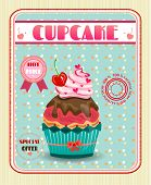 foto of cupcakes  - Huge cupcake with pink cream and brown chocolate - JPG