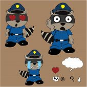 image of policeman  - raccoon policeman cartoon set in vector format very easy to edit - JPG