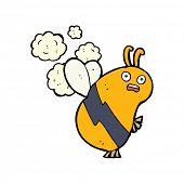 stock photo of bee cartoon  - cartoon flying bee - JPG
