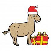 stock photo of donkey  - cartoon christmas donkey - JPG