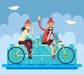 foto of tandem bicycle  - Hipster Male Female Character Riding Companion Tandem Bicycle Concept Urban Landscape City Street Background Creative Flat Design Vector Illustration - JPG