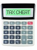 picture of cheating  - Calculator with TAX CHEAT on display on white background - JPG