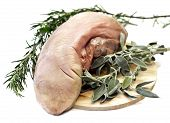 picture of calf  - raw calf tongue with herbs and spices - JPG