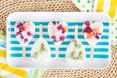 foto of popsicle  - Homemade frozen popsicles with yogurt and fresh fruits - JPG