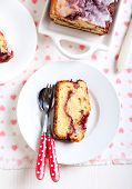 stock photo of pound cake  - Berry swirl pound cake with vanilla glaze - JPG