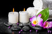 pic of calla  - spa background of orchid dendrobium green leaf Calla lily candles towels and beads on zen stones with drops closeup - JPG