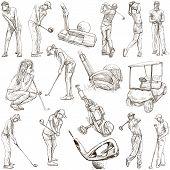Постер, плакат: Golf And Golfers Hand Drawn Pack